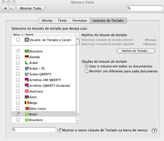 acento agudo no teclado do mac